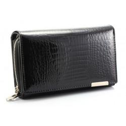 Kožená lesklá peněženka black