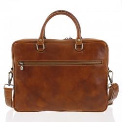Kožená taška na notebook a doklady světle hnědá