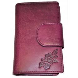 Kožená peněženka purple flower