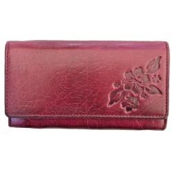 Kožená dámská peněženka violet flower