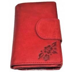 Dámská kožená peněženka red flower