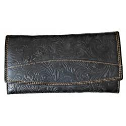Velká dámská peněženka černý květ