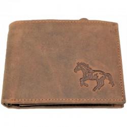 Kožená hnědá peněženka kůň