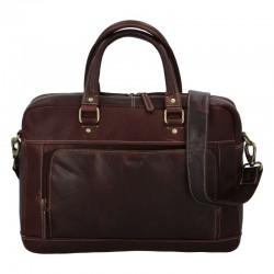 Pánská kožená cestovní taška tmavě hnědá lesk