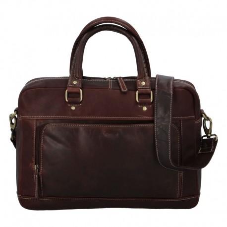 Pánská kožená cestovní taška tmavě hnědá
