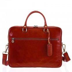 Kožená taška na notebook a doklady červená