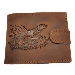 Lovecká kožená peněženka pes