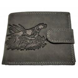 Lovecká šedá kožená peněženka pes