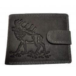 Lovecká šedá kožená peněženka